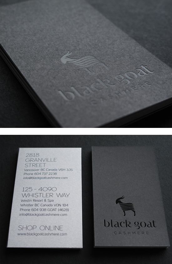 Black Goat Cashmere Business Card Design